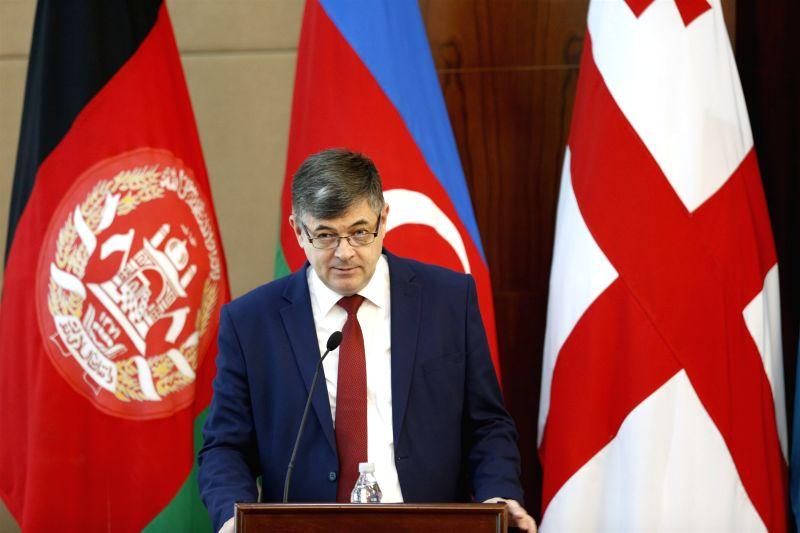 """BISHKEK, July 18, 2018 - Kyrgyzstan's Minister of Economy Oleg Pankratov speaks at the """"Building knowledge corridors along the Silk Road"""" forum in Bishkek, Kyrgyzstan, July 17, 2018. The ..."""