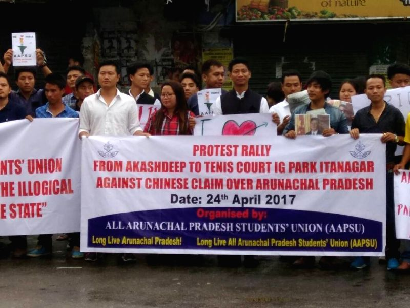 Biswanth : All Arunachal Pradesh Students Union (AAPSU) activists stage a protest against Chinese claim over Arunachal Pradesh, in Itanagar on April 24, 2017.