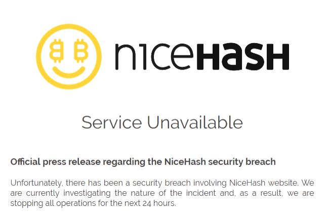 Bitcoin marketplace NiceHash hacked.