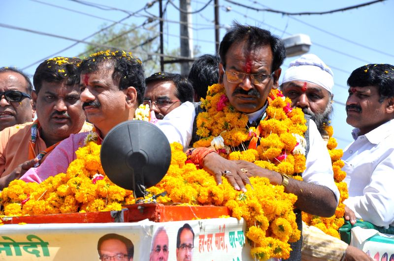 BJP candidate for 2014 Lok Sabha Election from Bhopal, Alok Sanjar during an election campaign in Bhopal on April 10, 2014.