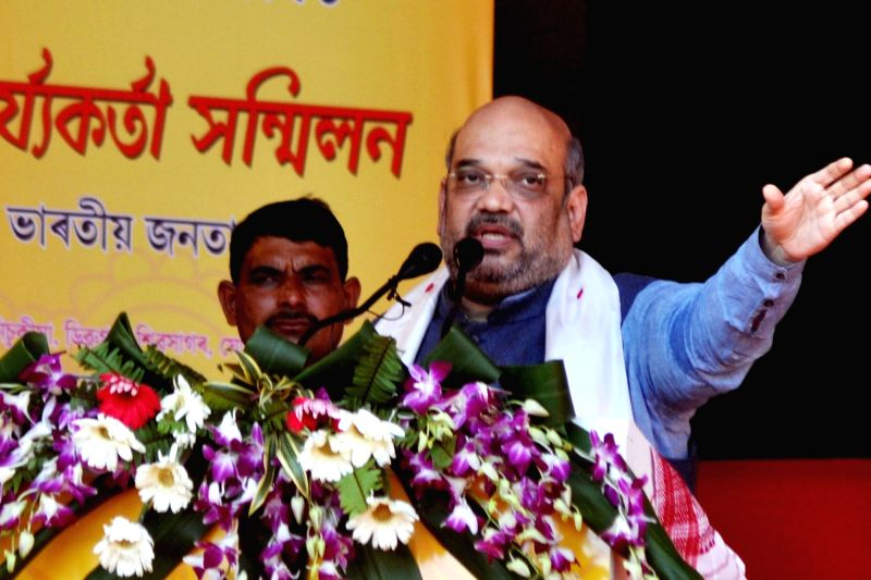 BJP chief Amit Shah addresses a party rally in Dibrugarh, of Assam on Nov 27, 2015.