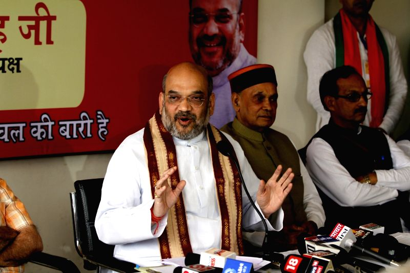 BJP chief Amit Shah addresses a press conference in Palampur on May 3, 2017. - Amit Shah