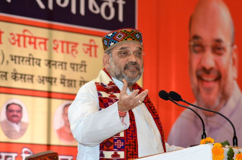 BJP chief Amit Shah addresses during a meeting in Palampur of Himachal Pradesh on May 4, 2017. - Amit Shah