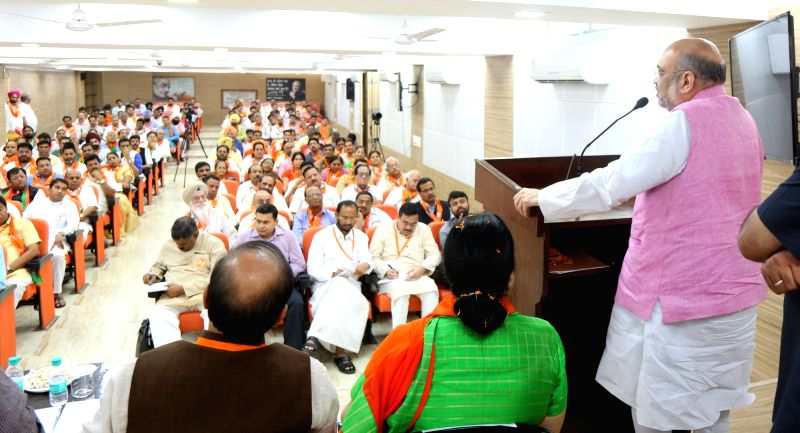 BJP chief Amit Shah addresses during a party meeting in Chandigarh on May 20, 2017. Shah on a two-day visit as part of his country-wide 95-day tour. - Amit Shah