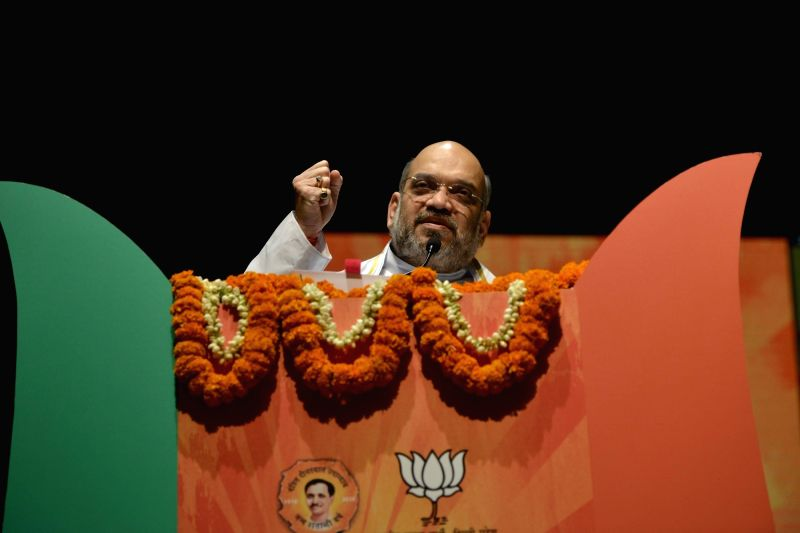 BJP chief Amit Shah addresses during a programme organised to celebrate party'ssuccess in the recent Delhi MCD polls in New Delhi on April 2, 2017. - Amit Shah