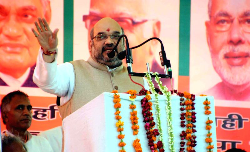 BJP chief Amit Shah addresses during Vijay Sankalp Rally in Haryana's Mahendergarh on Aug 14, 2014.