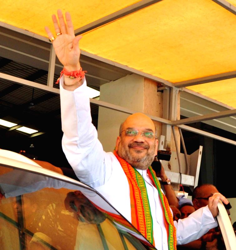 BJP chief Amit Shah arrives at Rajiv Gandhi International airport in Hyderabad on May 22, 2017. - Amit Shah and Rajiv Gandhi International