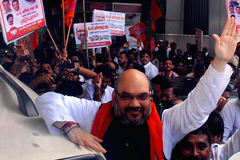 BJP chief Amit Shah arrives in Mumbai on Sept 4, 2014.