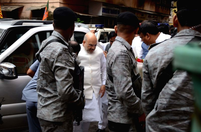 BJP chief Amit Shah arrives to attend a party meeting in Mumbai on July 22, 2018. - Amit Shah