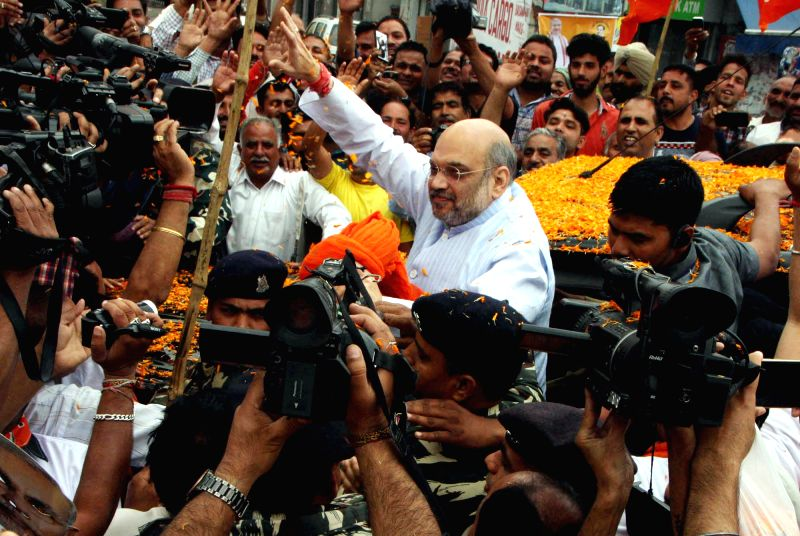 BJP chief Amit Shah campaigns during party's booth level campaign in Jammu on April 29, 2017. - Amit Shah