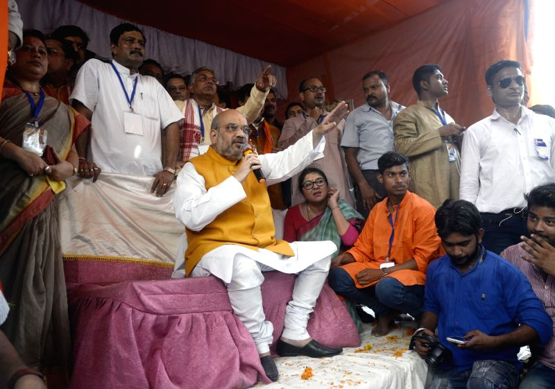 BJP chief Amit Shah campaigns for party in Bhabanipur Vidhan Sabha constituency in Kolkata on April 26, 2017. - Amit Shah