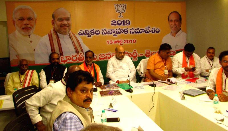 BJP chief Amit Shah during a party meeting in Hyderabad on July 13, 2018. - Amit Shah
