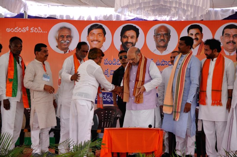 BJP chief Amit Shah during a party programme in Hyderabad on May 23, 2017. - Amit Shah