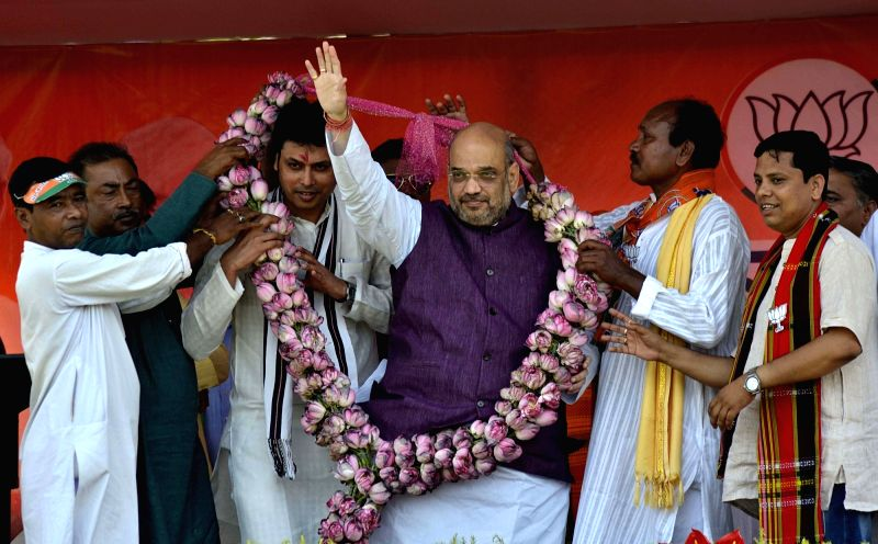 BJP chief Amit Shah during a public meeting in Kailashahar of Tripura on May 7, 2017. - Amit Shah