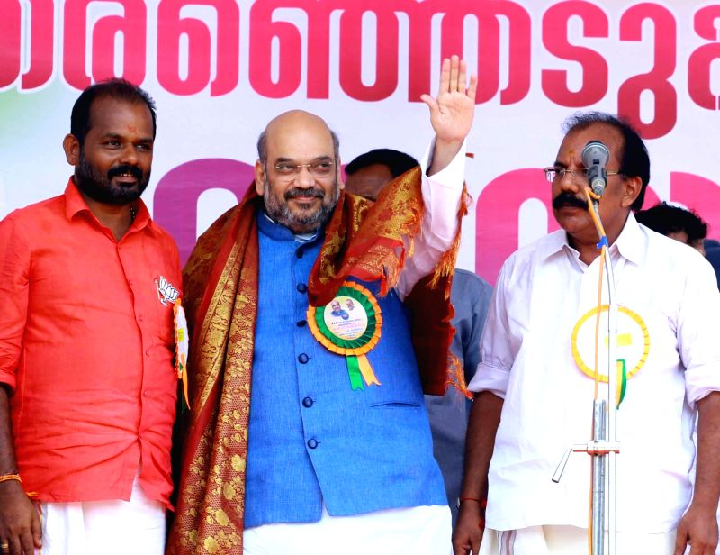 BJP chief Amit Shah during an election rally in Thrissur of Kerala on May 10, 2016. - Amit Shah