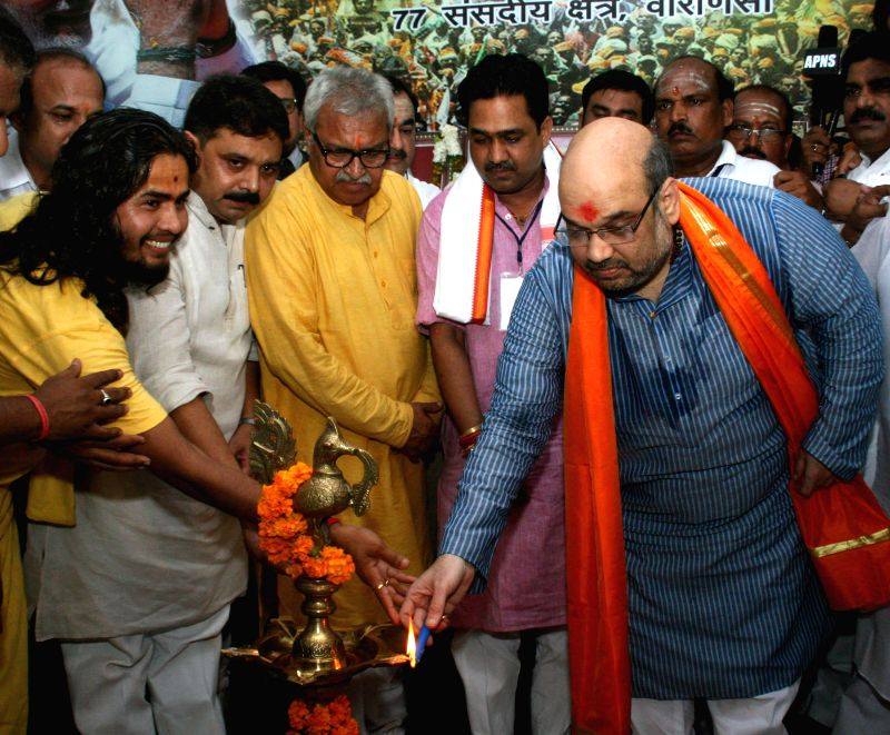 BJP chief Amit Shah during inauguration of Prime Minister Narendra Modi's mini office in Varanasi on Aug 20, 2014. - Narendra Modi