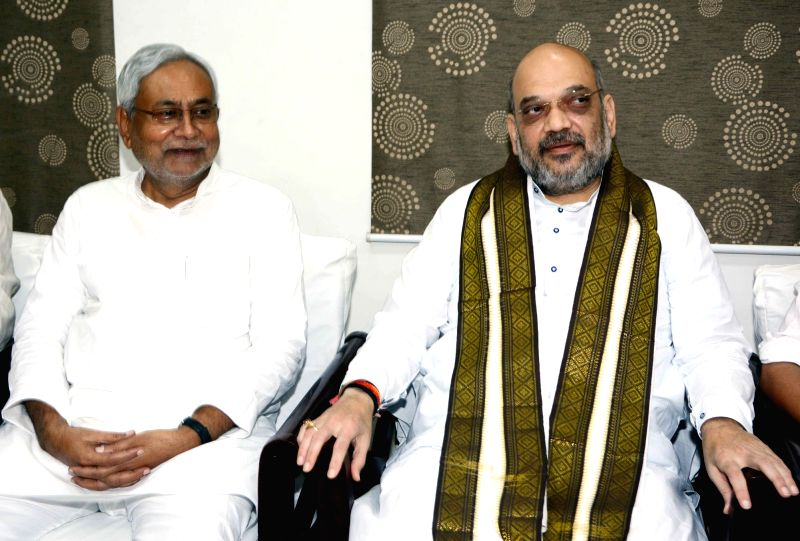 Bihar Chief Minister and JD-U chief Nitish Kumar and BJP chief Amit Shah