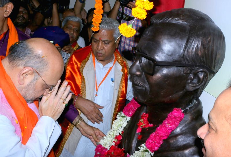 BJP chief Amit Shah unveils Pandit Deen Dayal Upadhyay statue in Chandigarh on May 20, 2017. Shah on a two-day visit as part of his country- - Amit Shah
