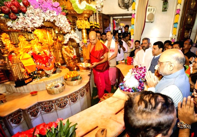BJP chief Amit Shah visits Siddhi Vinayaka Mandir in Mumbai on Sept 14, 2018. - Amit Shah