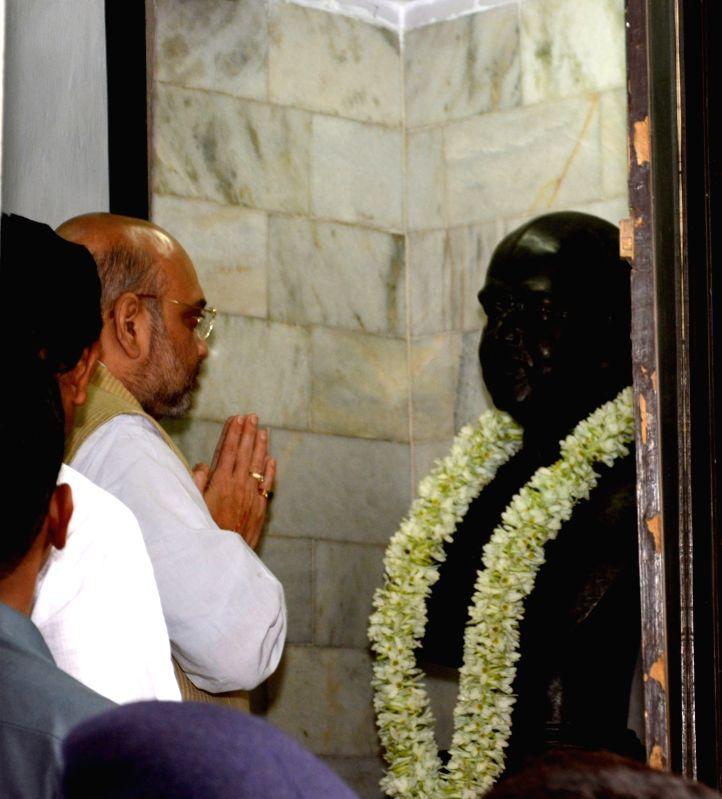 BJP chief Amit Shah visits the house of Dr Syama Prasad Mukherjee in Kolkata, on April 27, 2017. - Amit Shah and Syama Prasad Mukherjee