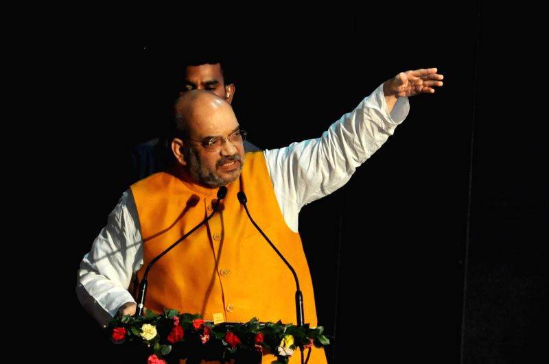 BJP chief Amit Shah with party leaders during a party program in Kolkata on April 26, 2017. - Amit Shah