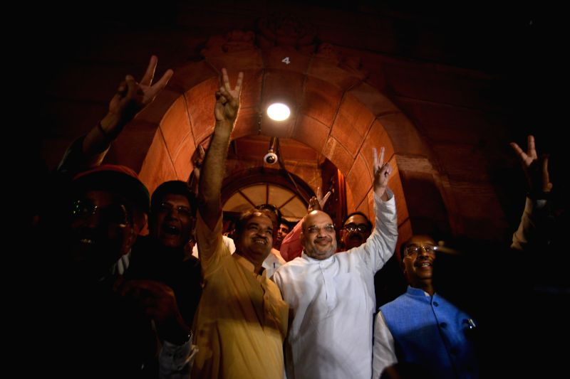 BJP chief Amit Shah with Union Ministers Piyush Goyal, Ananth Kumar and Arjun Ram Meghwal as he comes out of Parliament after no-confidence motion against Modi government was defeated on ... - Piyush Goyal, Ananth Kumar, Arjun Ram Meghwal and Amit Shah