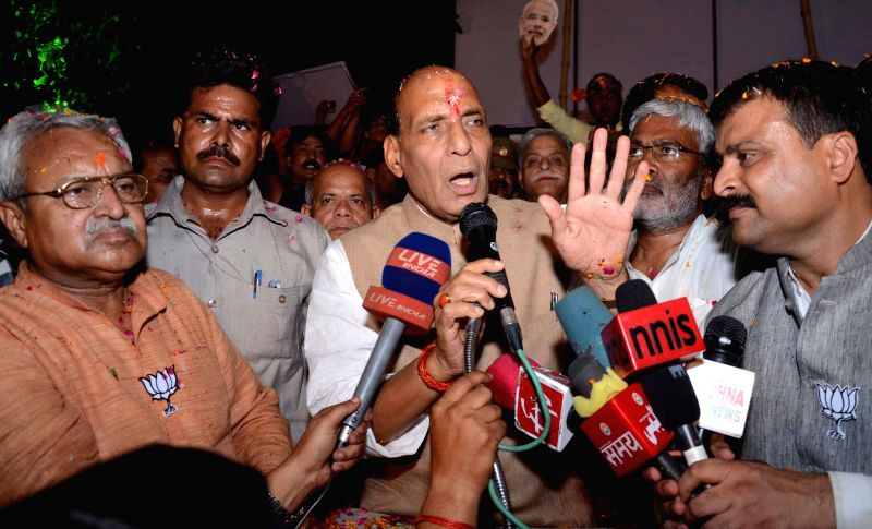 BJP chief Rajnath Singh addresses press in Lucknow after party's excellent performance in 2014 Lok sabha Elections on May 16, 2014.