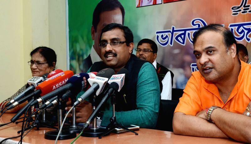 BJP general secretary Ram Madhav addresses a press conference in Guwahati on Nov 28, 2015.