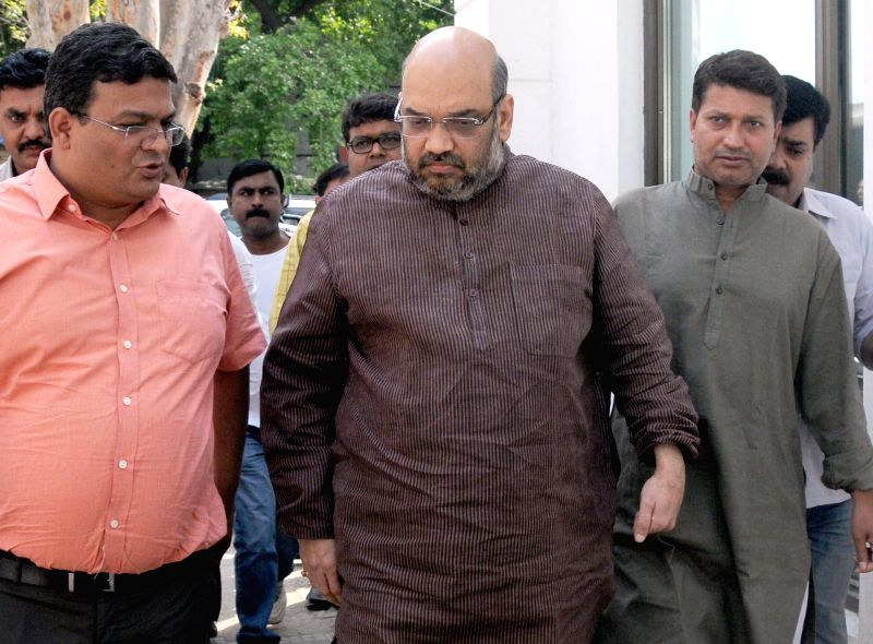 BJP leader Amit Shah at party headquarters in New Delhi on May 13, 2014.