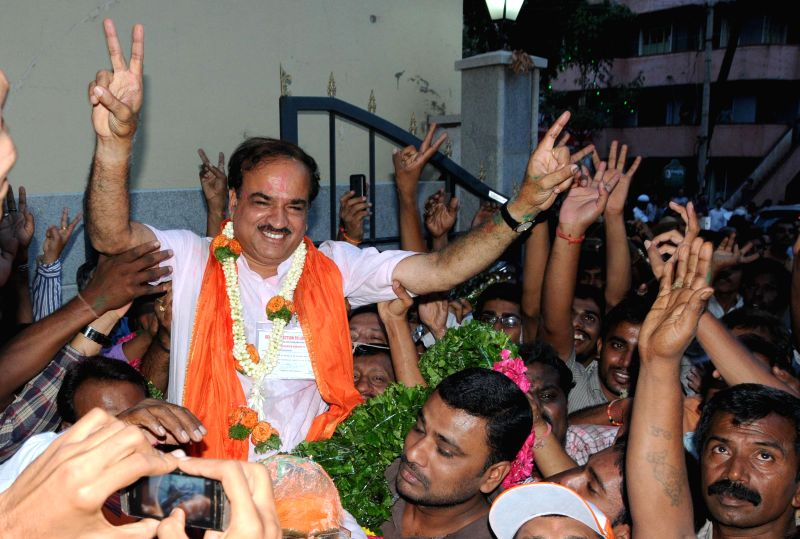 BJP leader Ananth Kumar celebrates after winning Bangalore South Lok Sabha seat at BJP office in Bangalore on May 16, 2014.