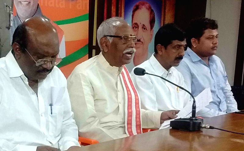 BJP leader and former Union Minister Bandaru Dattatreya addresses a press conference in Hyderabad on Aug 11, 2018. - Bandaru Dattatreya