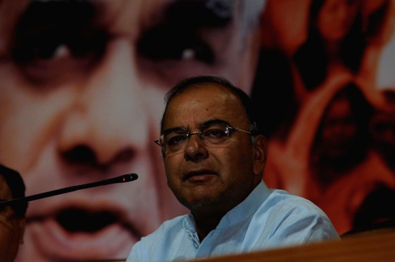 BJP leader Arun Jaitley during a press conference in New Delhi on May 2, 2014.