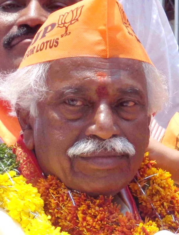 BJP leader Bandaru Dattatreya during an election campaign in Secunderabad on April 21, 2014.