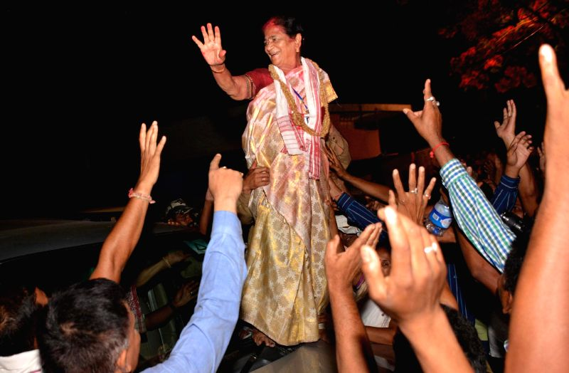BJP leader Bijoya Chakraborty after winning Guwahati Lok Sabha seat in Guwahati on May 16, 2014.