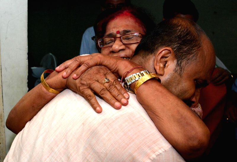 BJP leader Bijoya Chakraborty gets emotional after winning Guwahati Lok Sabha seat at Rajiv Gandhi indoor stadium in Guwahati on May 16, 2014.