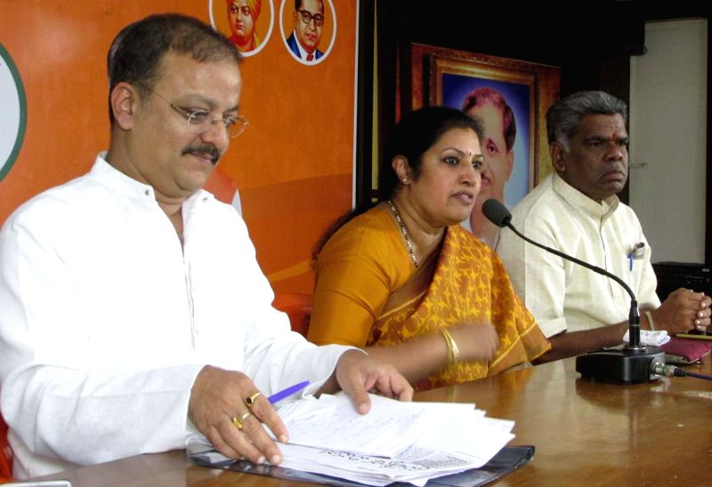 BJP leader Daggubati Purandhareswari addresses a press conference, in Hyderabad on July 21, 2018.