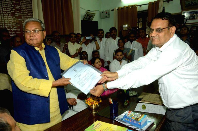 BJP leader Gopal Narain Singh who has been elected unopposed to Rajya Sabha in Patna, on June 3, 2016. - Gopal Narain Singh