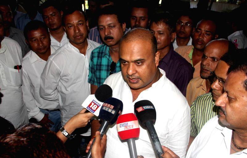 BJP leader Himanta Biswa Sarma talks to press during BJP legislative party meeting in Guwahati, on May 22, 2016.