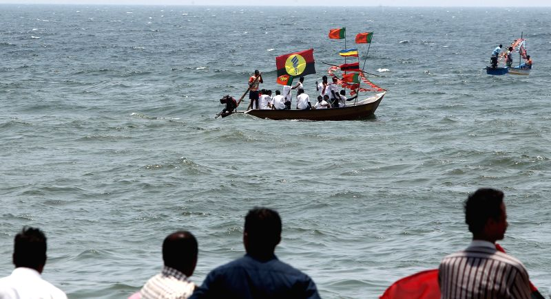 BJP leader L. Ganesan's election campaign in the sea off Chennai coast in Chennai on April 17, 2014.