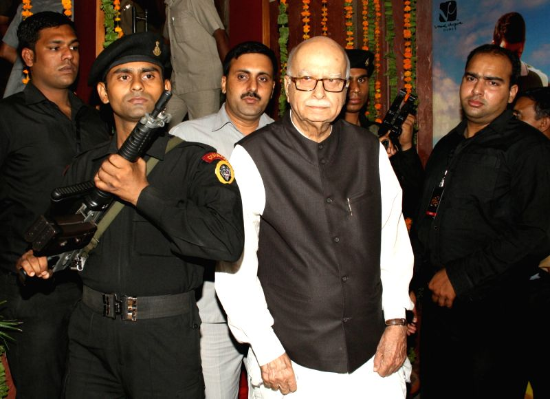 BJP Leader L.K Advani comming out after waching film `Farrari Ki Sawaari`, at a cinema theater in old Delhi, Tuesday Night. - K Advani
