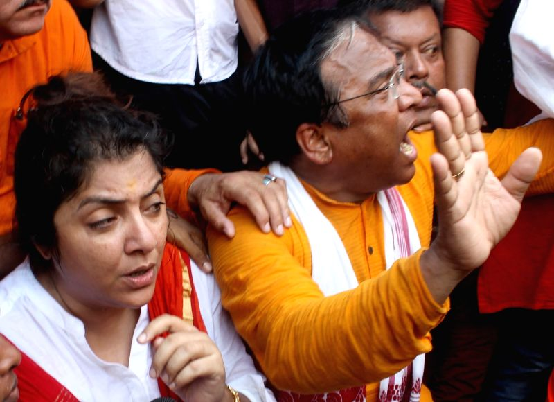 BJP leader Locket Chatterjee during a protest against the law and order situation in West Bengal and fake cases lodged against BJP workers among other issues in Lalbazar of Kolkata on May ... - Chatterjee
