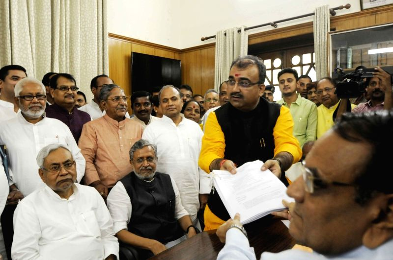 BJP leader Mangal Pandey files nomination papers for upcoming Bihar Legislative Council elections in Patna, on April 16, 2018. - Mangal Pandey