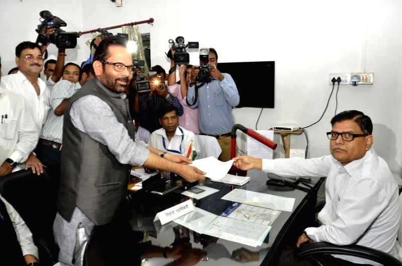 BJP leader Mukhtar Abbas Naqvi files nomination for elections to Rajya Sabha for the second time as his previous nomination was cancelled at Jharkhand Assembly in Ranchi, on May 31, 2016.