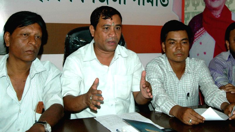 BJP leader Mukuta Deka addresses a press conference in Guwahati on July 2, 2014.