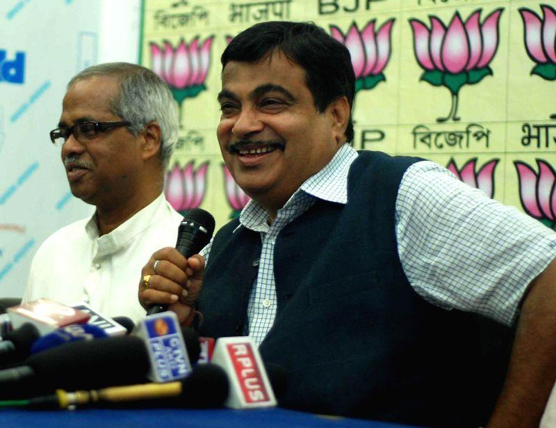 BJP leader Nitin Gadkari during a press conference in Kolkata on April 26, 2014.