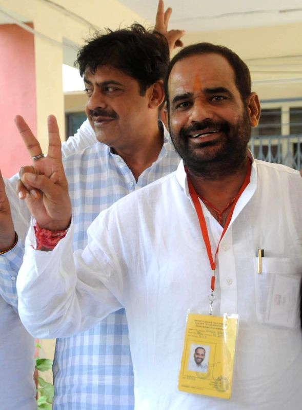 BJP leader Ramesh Bidhuri after winning South Delhi Parliamentary constituency in New Delhi on May 16, 2014.