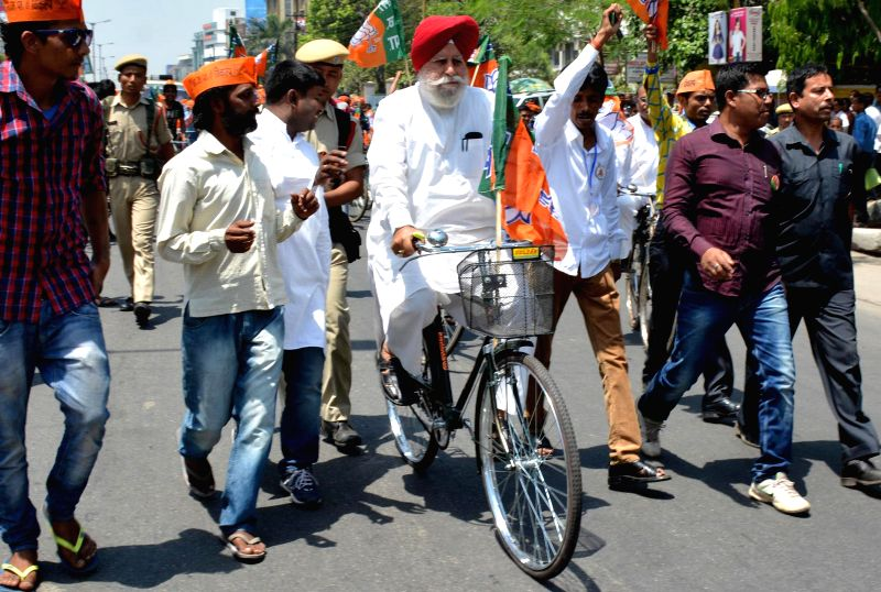 BJP leader S.S. Ahluwalia during an election campaign in Guwahati on April 22, 2014.