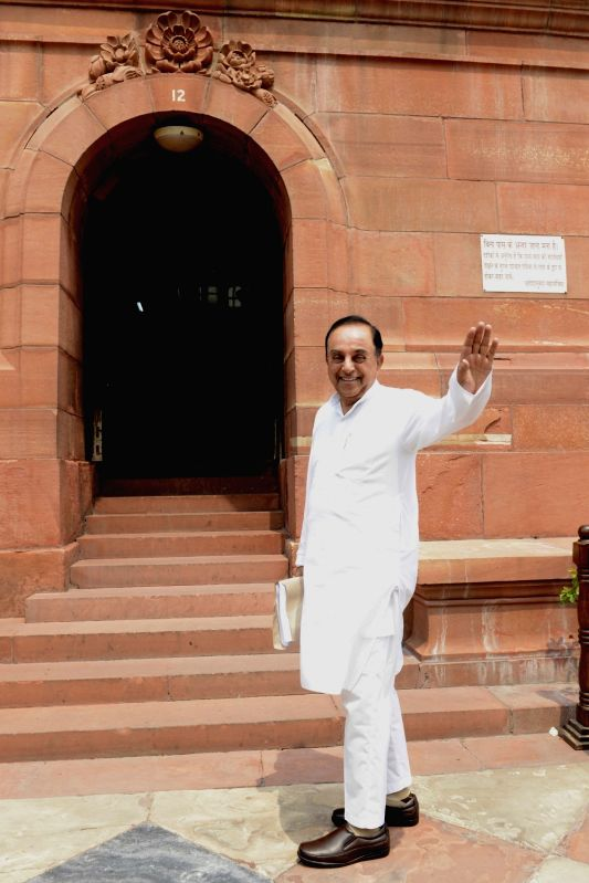 BJP leader Subramanian Swamy at Parliament in New Delhi on May 9, 2016.