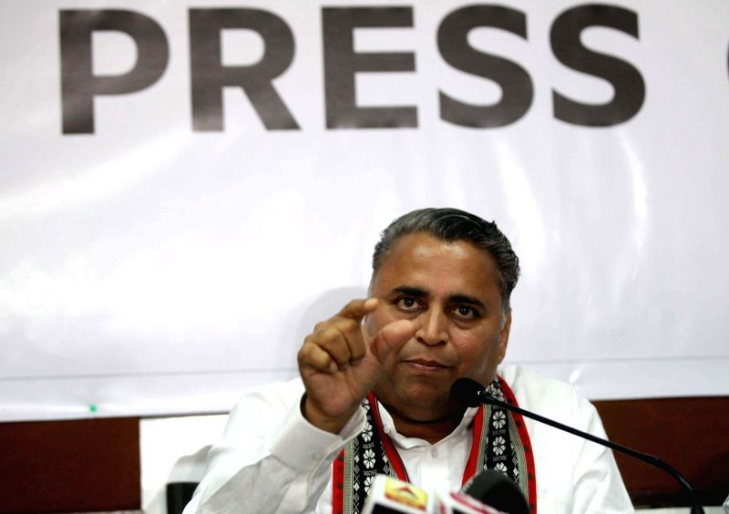 BJP leader Sunil Deodhar addresses a press conference in Mumbai on March 13, 2018.