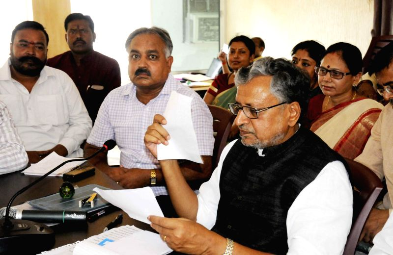 BJP leader Sushil Kumar Modi during Janta Darbar in Patna on June 17, 2014.